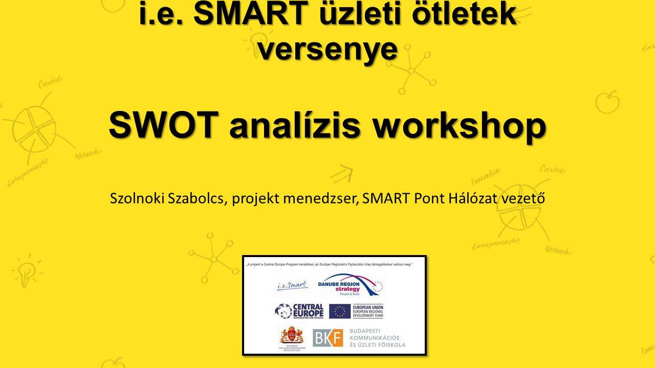 i.e. SMART üzleti ötletek versenye SWOT analízis workshop Szolnoki Szabolcs, projekt menedzser, SMART Pont Hálózat vezető