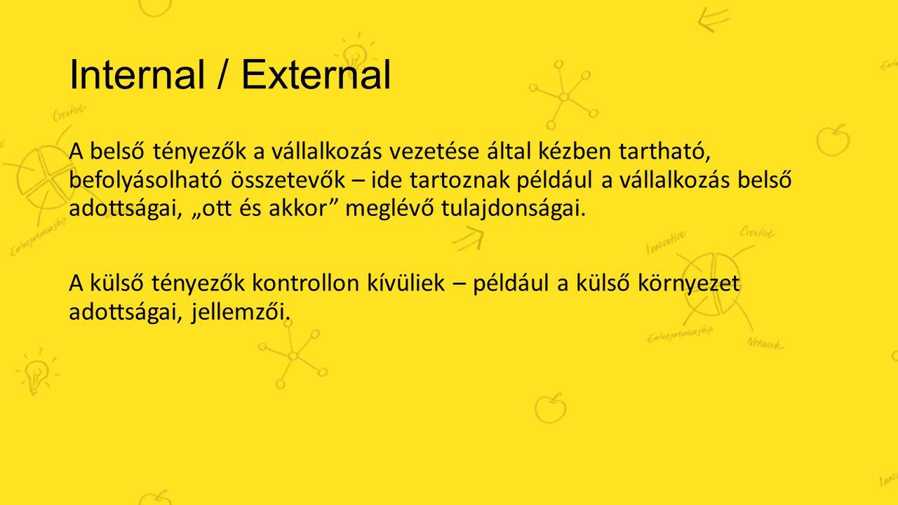 Internal / External A belső tényezők a vállalkozás vezetése által kézben tartható, befolyásolható összetevők – ide tartoznak például a vállalkozás bel