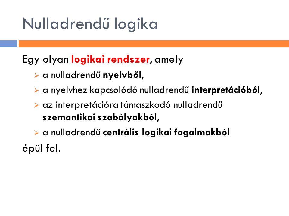 A nulladrendű nyelv  L (0) = 〈 LC,Con,Form 〉 ahol  LC={¬, ⊃, ∧, ∨, ≡,(,)} (a nyelv logikai konstansainak halmaza)  Con≠ ∅ a nyelv nemlogikai konstansainak (állítás- vagy kijelentés-paramétereinek) legfeljebb megszámlálhatóan végtelen halmaza  LC ∩ Con= ∅  A nyelv formuláinak a halmazát, azaz a Form halmazt az alábbi induktív definíció adja meg: