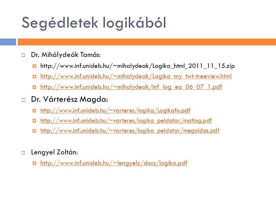 Segédletek logikából  Dr. Mihálydeák Tamás:  http://www.inf.unideb.hu/~mihalydeak/Logika_html_2011_11_15.zip  http://www.inf.unideb.hu/~mihalydeak/