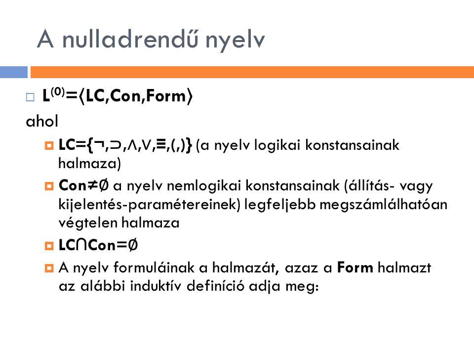 A nulladrendű nyelv  L (0) = 〈 LC,Con,Form 〉 ahol  LC={¬, ⊃, ∧, ∨, ≡,(,)} (a nyelv logikai konstansainak halmaza)  Con≠ ∅ a nyelv nemlogikai konsta
