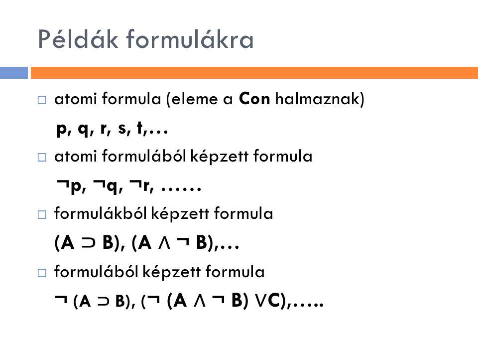 Példák formulákra  atomi formula (eleme a Con halmaznak) p, q, r, s, t,…  atomi formulából képzett formula ¬p, ¬q, ¬r, ……  formulákból képzett form