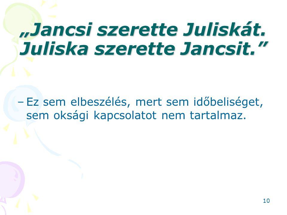 """""""Jancsi szerette Juliskát. Juliska szerette Jancsit."""" –Ez sem elbeszélés, mert sem időbeliséget, sem oksági kapcsolatot nem tartalmaz. 10"""