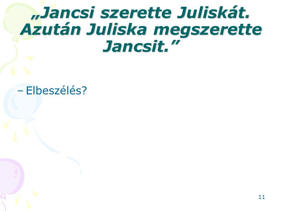 """""""Jancsi szerette Juliskát. Azután Juliska megszerette Jancsit."""" –Elbeszélés? 11"""