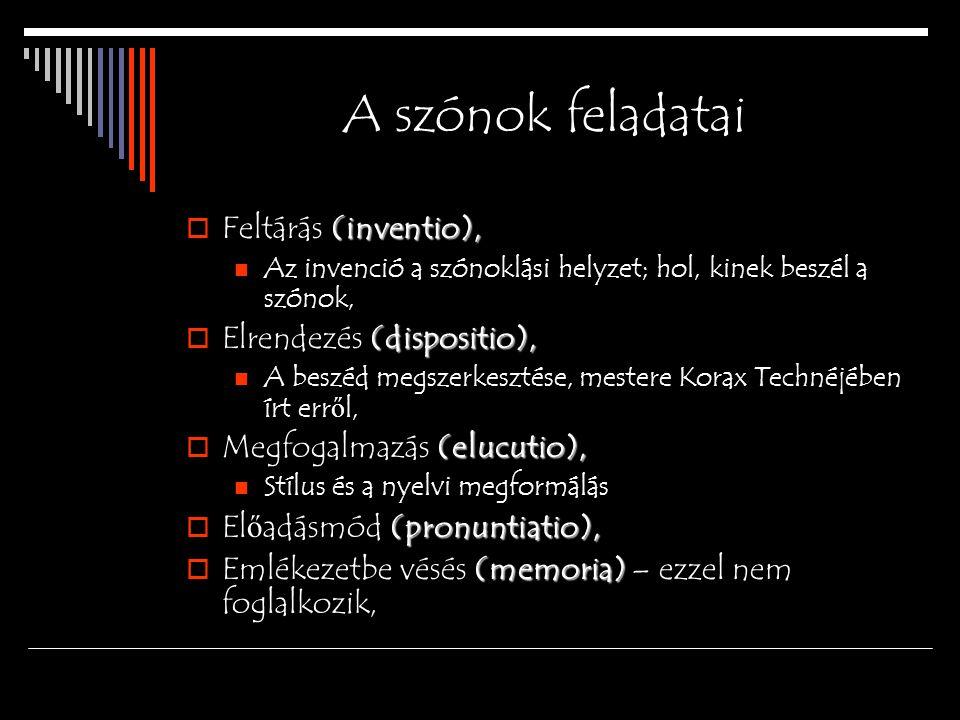 A szónok feladatai (inventio),  Feltárás (inventio), Az invenció a szónoklási helyzet; hol, kinek beszél a szónok, (dispositio),  Elrendezés (dispositio), A beszéd megszerkesztése, mestere Korax Technéjében írt err ő l, (elucutio),  Megfogalmazás (elucutio), Stílus és a nyelvi megformálás (pronuntiatio),  El ő adásmód (pronuntiatio), (memoria)  Emlékezetbe vésés (memoria) – ezzel nem foglalkozik,