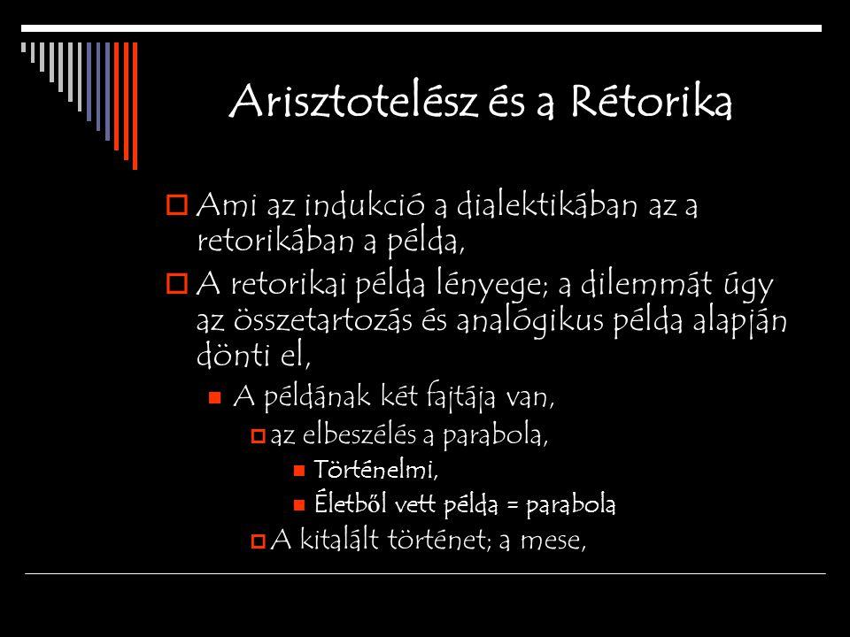 Arisztotelész és a Rétorika  Ami az indukció a dialektikában az a retorikában a példa,  A retorikai példa lényege; a dilemmát úgy az összetartozás és analógikus példa alapján dönti el, A példának két fajtája van,  az elbeszélés a parabola, Történelmi, Életb ő l vett példa = parabola  A kitalált történet; a mese,