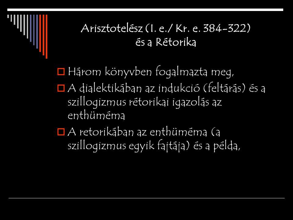 Arisztotelész (I. e./ Kr. e. 384-322) és a Rétorika  Három könyvben fogalmazta meg,  A dialektikában az indukció (feltárás) és a szillogizmus rétori