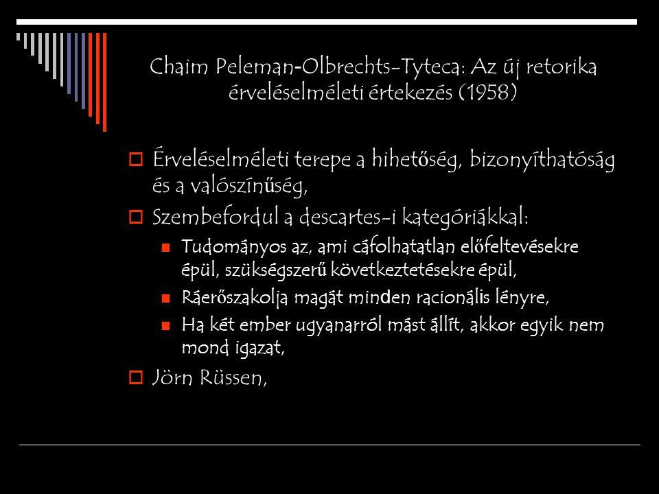Chaim Peleman - Olbrechts-Tyteca: Az új retorika érveléselméleti értekezés (1958)  Érveléselméleti terepe a hihet ő ség, bizonyíthatóság és a valószín ű ség,  Szembefordul a descartes-i kategóriákkal: Tudományos az, ami cáfolhatatlan el ő feltevésekre épül, szükségszer ű következtetésekre épül, Ráer ő szakolja magát min d en racionál i s lényre, Ha két ember ugyanarról mást állít, akkor egyik nem mond igazat,  Jörn Rüssen,