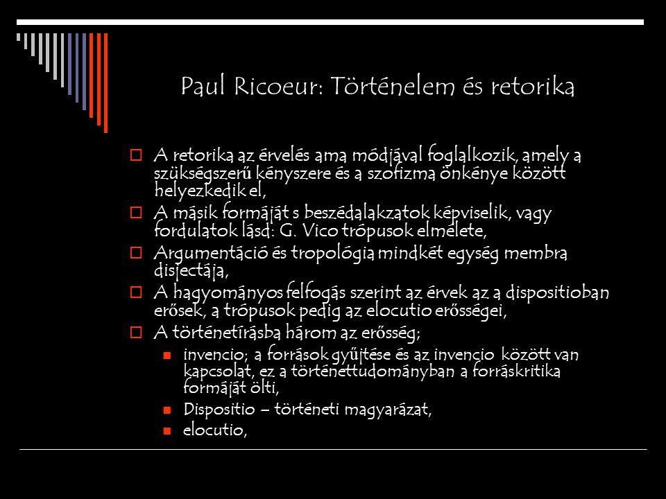 Paul Ricoeur: Történelem és retorika  A retorika az érvelés ama módjával foglalkozik, amely a szükségszer ű kényszere és a szofizma önkénye között helyezkedik el,  A másik formáját s beszédalakzatok képviselik, vagy fordulatok lásd: G.