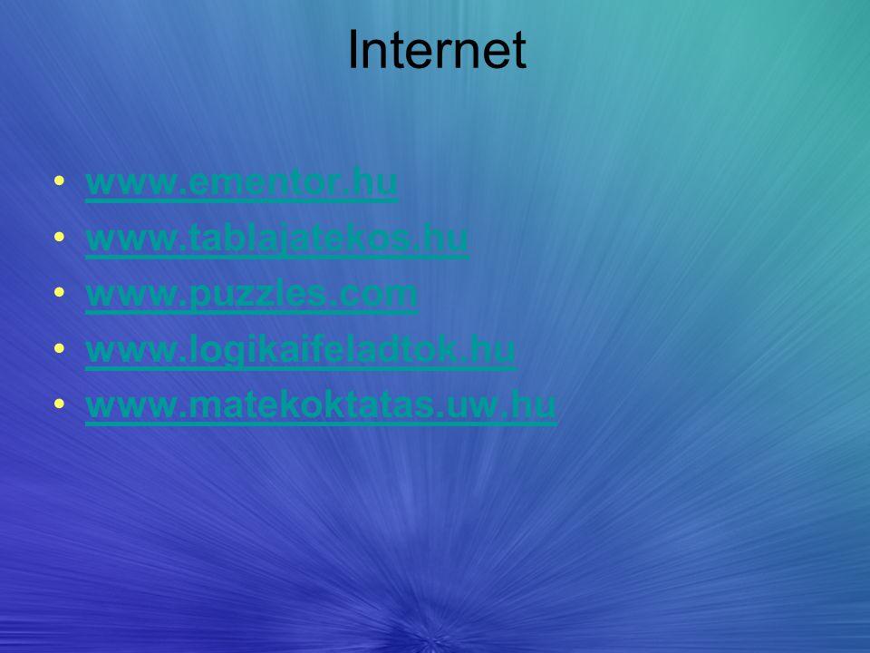 Internet www.ementor.hu www.tablajatekos.hu www.puzzles.com www.logikaifeladtok.hu www.matekoktatas.uw.hu