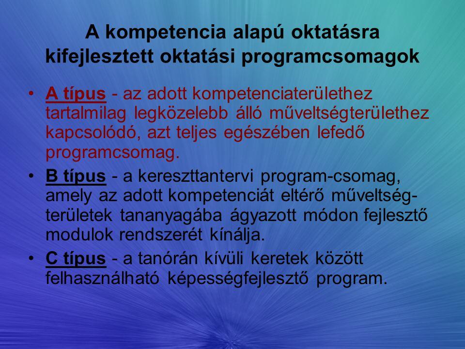 A kompetencia alapú oktatásra kifejlesztett oktatási programcsomagok A típus - az adott kompetenciaterülethez tartalmilag legközelebb álló műveltségte