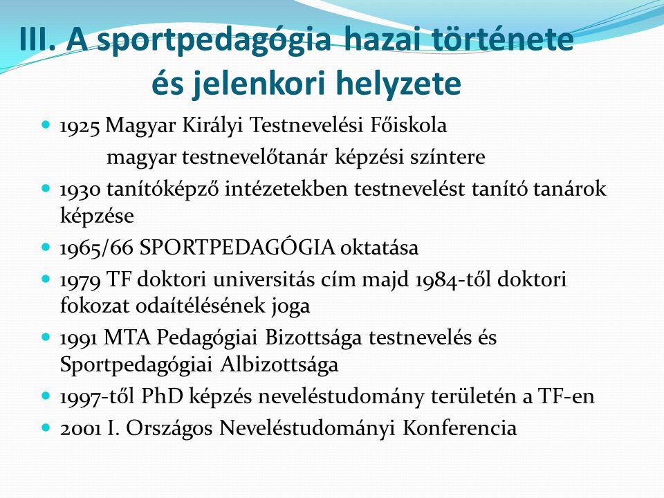 III. A sportpedagógia hazai története és jelenkori helyzete 1925 Magyar Királyi Testnevelési Főiskola magyar testnevelőtanár képzési színtere 1930 tan