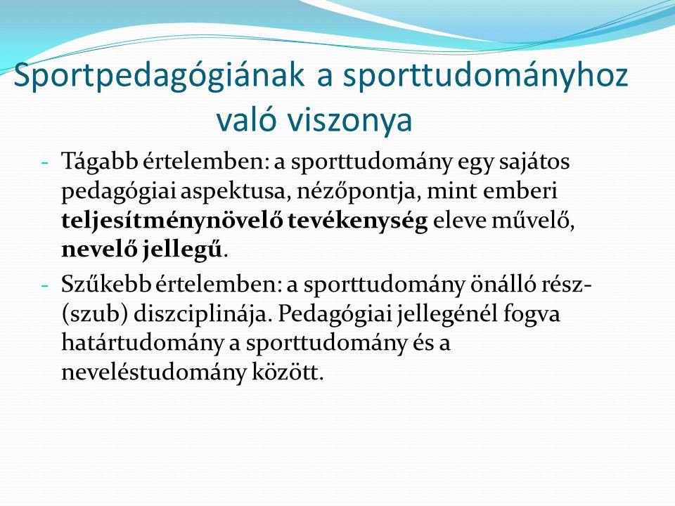 Sportpedagógiának a sporttudományhoz való viszonya - Tágabb értelemben: a sporttudomány egy sajátos pedagógiai aspektusa, nézőpontja, mint emberi telj