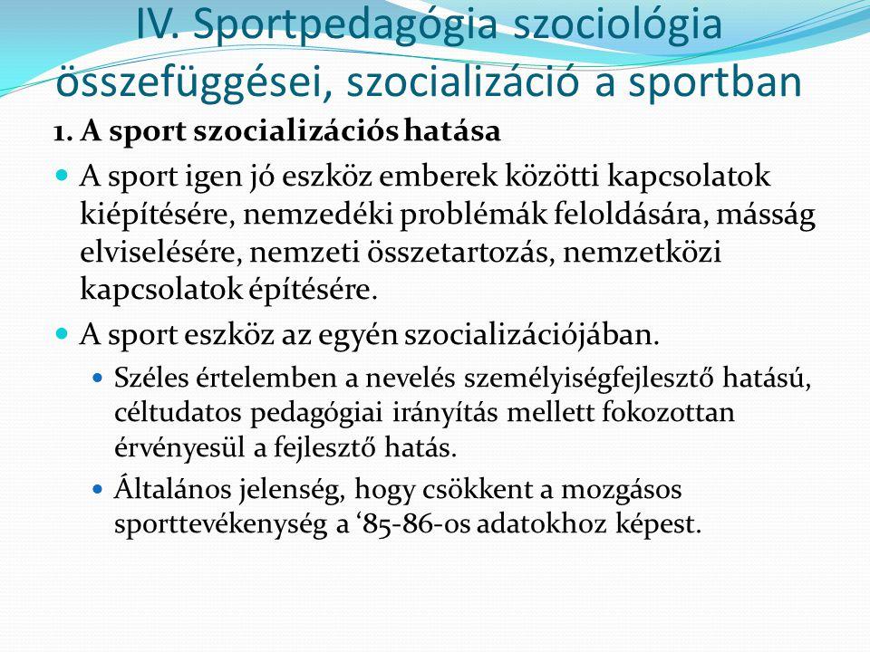 1. A sport szocializációs hatása A sport igen jó eszköz emberek közötti kapcsolatok kiépítésére, nemzedéki problémák feloldására, másság elviselésére,