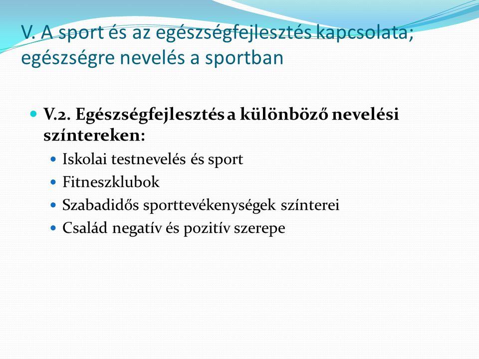 V. A sport és az egészségfejlesztés kapcsolata; egészségre nevelés a sportban V.2. Egészségfejlesztés a különböző nevelési színtereken: Iskolai testne