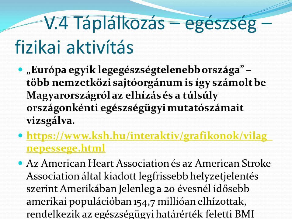 """V.4 Táplálkozás – egészség – fizikai aktivítás """"Európa egyik legegészségtelenebb országa"""" – több nemzetközi sajtóorgánum is így számolt be Magyarorszá"""