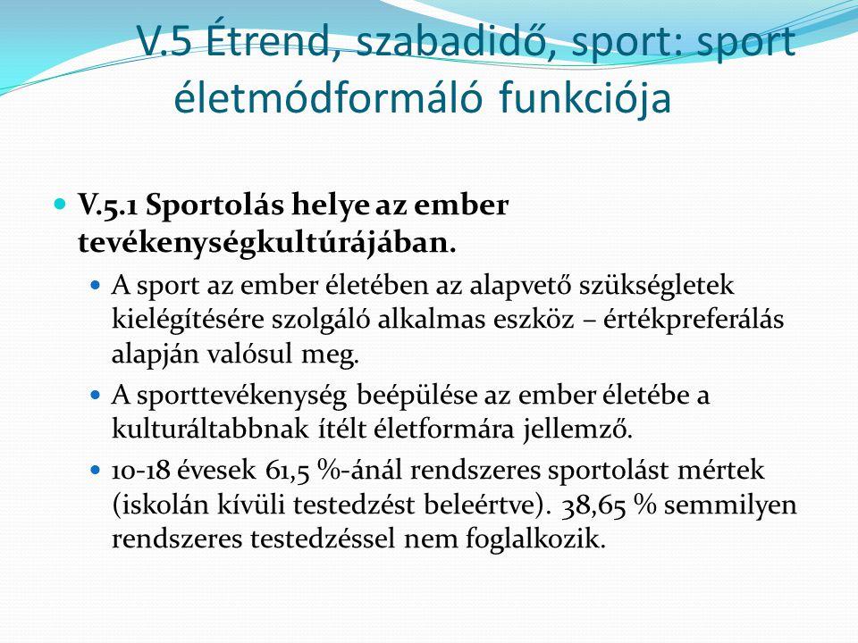 V.5 Étrend, szabadidő, sport: sport életmódformáló funkciója V.5.1 Sportolás helye az ember tevékenységkultúrájában. A sport az ember életében az alap