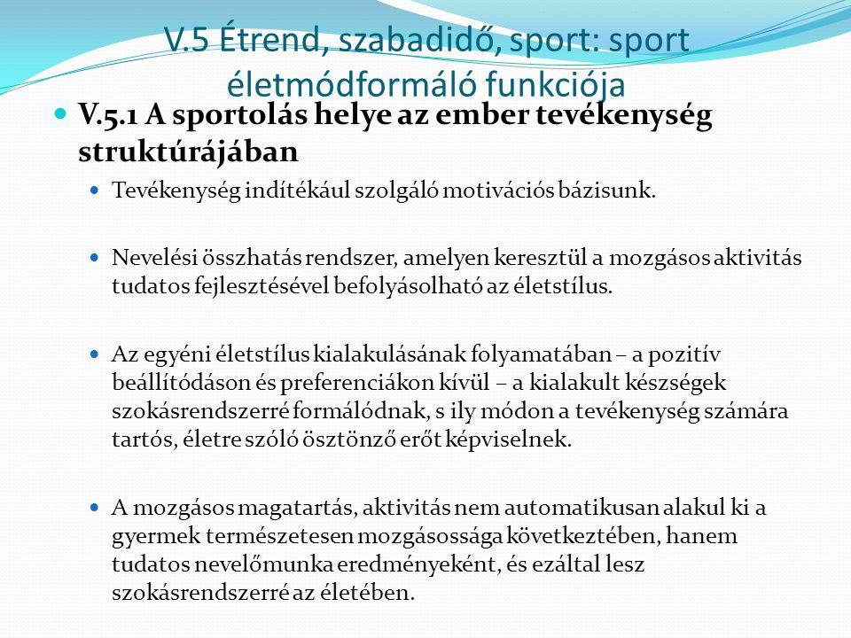 V.5 Étrend, szabadidő, sport: sport életmódformáló funkciója V.5.1 A sportolás helye az ember tevékenység struktúrájában Tevékenység indítékául szolgá