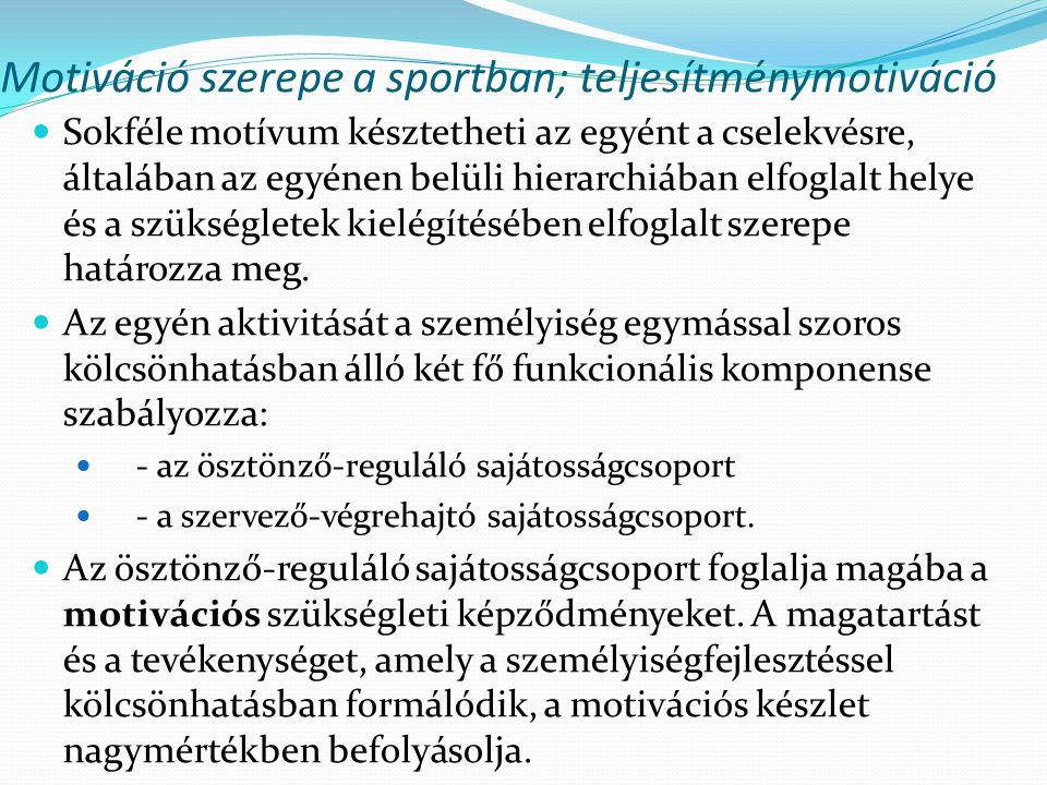 Motiváció szerepe a sportban; teljesítménymotiváció Sokféle motívum késztetheti az egyént a cselekvésre, általában az egyénen belüli hierarchiában elf