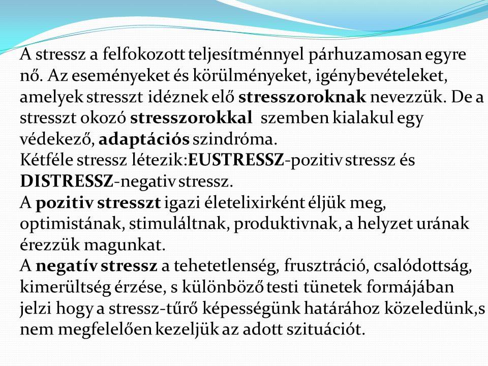 A stressz a felfokozott teljesítménnyel párhuzamosan egyre nő. Az eseményeket és körülményeket, igénybevételeket, amelyek stresszt idéznek elő stressz