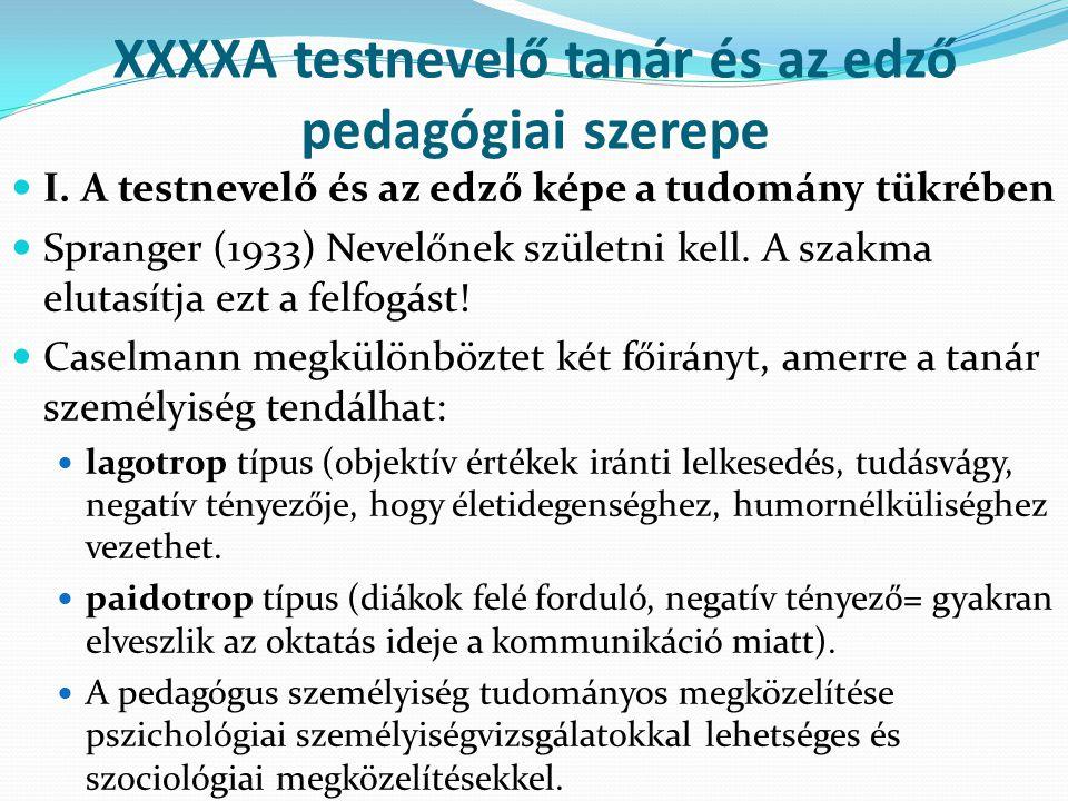XXXXA testnevelő tanár és az edző pedagógiai szerepe I. A testnevelő és az edző képe a tudomány tükrében Spranger (1933) Nevelőnek születni kell. A sz