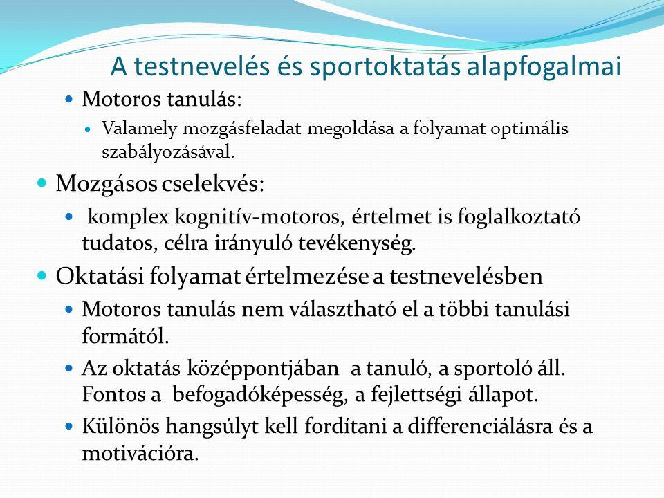 A testnevelés és sportoktatás alapfogalmai Motoros tanulás: Valamely mozgásfeladat megoldása a folyamat optimális szabályozásával. Mozgásos cselekvés: