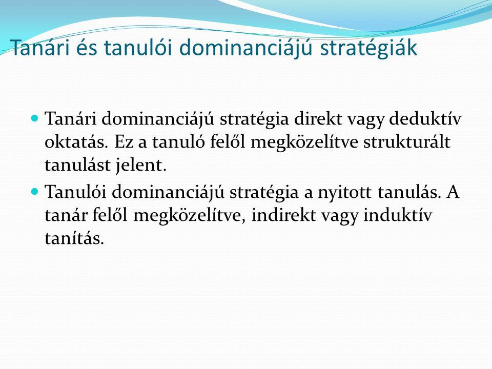 Tanári és tanulói dominanciájú stratégiák Tanári dominanciájú stratégia direkt vagy deduktív oktatás. Ez a tanuló felől megközelítve strukturált tanul