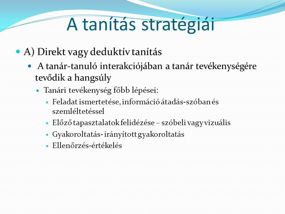 A tanítás stratégiái A) Direkt vagy deduktív tanítás A tanár-tanuló interakciójában a tanár tevékenységére tevődik a hangsúly Tanári tevékenység főbb
