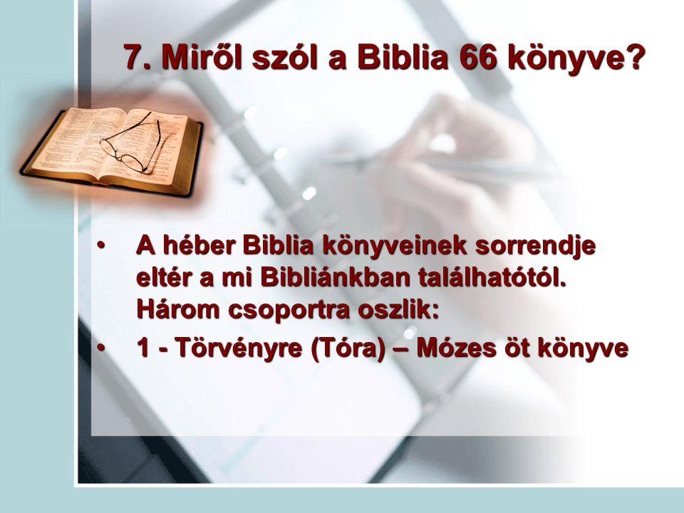 7.Miről szól a Biblia 66 könyve.