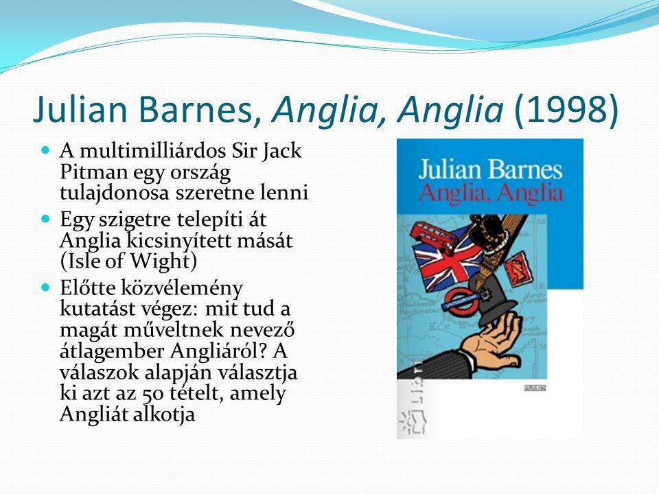 Julian Barnes, Anglia, Anglia (1998) A multimilliárdos Sir Jack Pitman egy ország tulajdonosa szeretne lenni Egy szigetre telepíti át Anglia kicsinyít