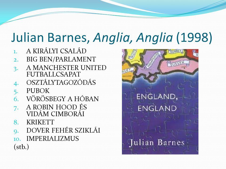 Julian Barnes, Anglia, Anglia (1998) 1. A KIRÁLYI CSALÁD 2. BIG BEN/PARLAMENT 3. A MANCHESTER UNITED FUTBALLCSAPAT 4. OSZTÁLYTAGOZÓDÁS 5. PUBOK 6. VÖR