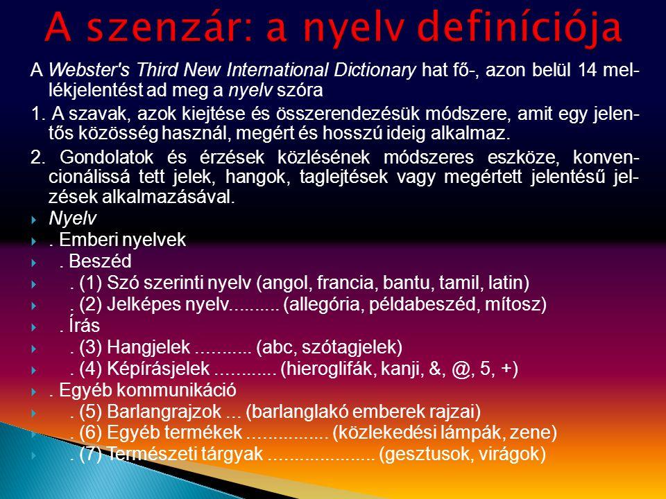 A Webster's Third New International Dictionary hat fő-, azon belül 14 mel- lékjelentést ad meg a nyelv szóra 1. A szavak, azok kiejtése és összerendez