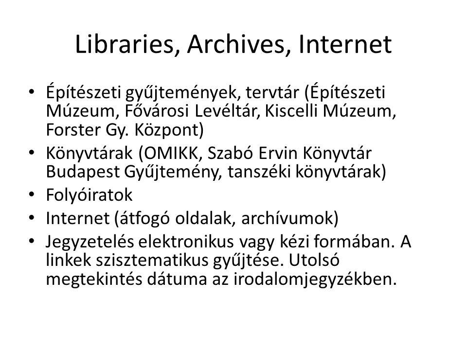 Libraries, Archives, Internet Építészeti gyűjtemények, tervtár (Építészeti Múzeum, Fővárosi Levéltár, Kiscelli Múzeum, Forster Gy.