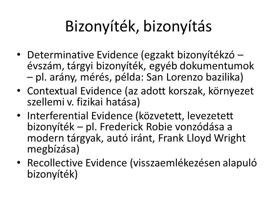 Bizonyíték, bizonyítás Determinative Evidence (egzakt bizonyítékzó – évszám, tárgyi bizonyíték, egyéb dokumentumok – pl.