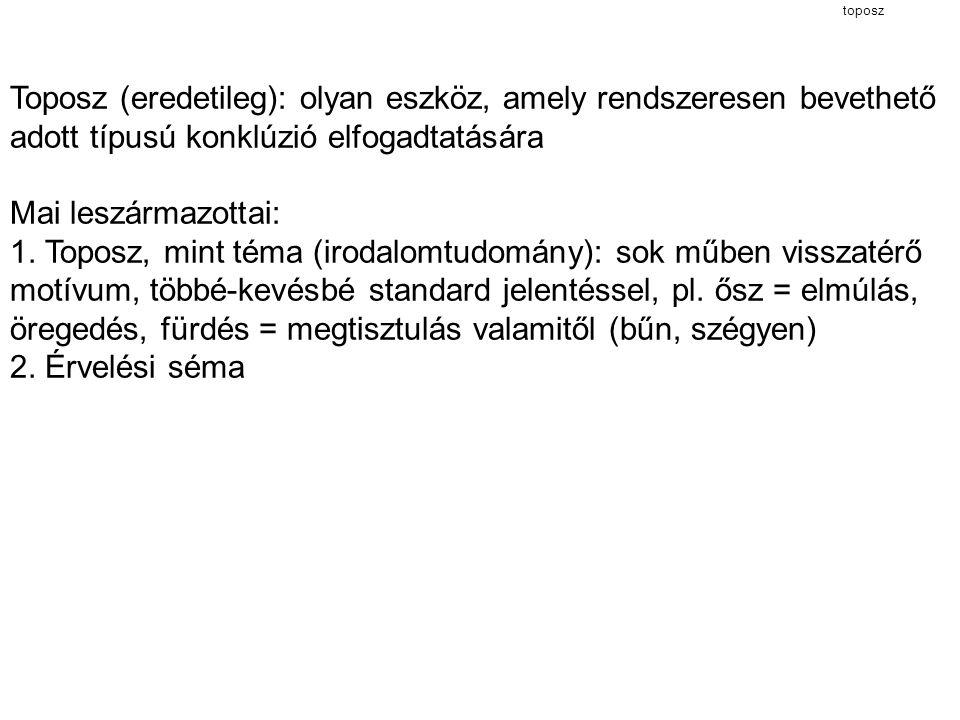 toposz Toposz (eredetileg): olyan eszköz, amely rendszeresen bevethető adott típusú konklúzió elfogadtatására Mai leszármazottai: 1. Toposz, mint téma