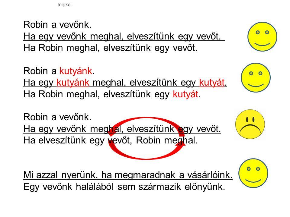 Robin a vevőnk. Ha egy vevőnk meghal, elveszítünk egy vevőt. Ha Robin meghal, elveszítünk egy vevőt. Robin a kutyánk. Ha egy kutyánk meghal, elveszítü