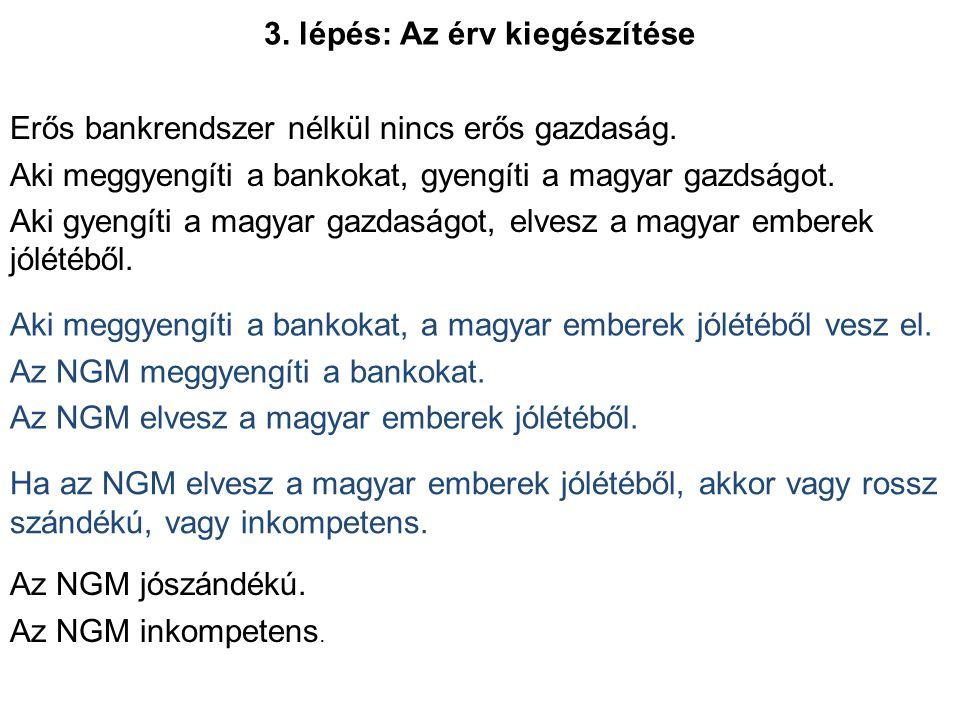 3. lépés: Az érv kiegészítése Erős bankrendszer nélkül nincs erős gazdaság. Aki meggyengíti a bankokat, gyengíti a magyar gazdságot. Aki gyengíti a ma