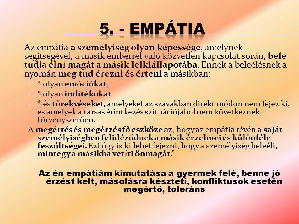 Az empátia a személyiség olyan képessége, amelynek segítségével, a másik emberrel való közvetlen kapcsolat során, bele tudja élni magát a másik lelkiá