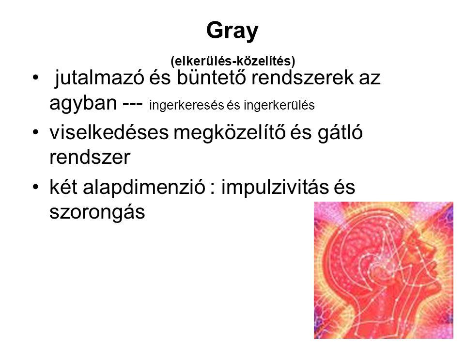 Gray (elkerülés-közelítés) jutalmazó és büntető rendszerek az agyban --- ingerkeresés és ingerkerülés viselkedéses megközelítő és gátló rendszer két alapdimenzió : impulzivitás és szorongás