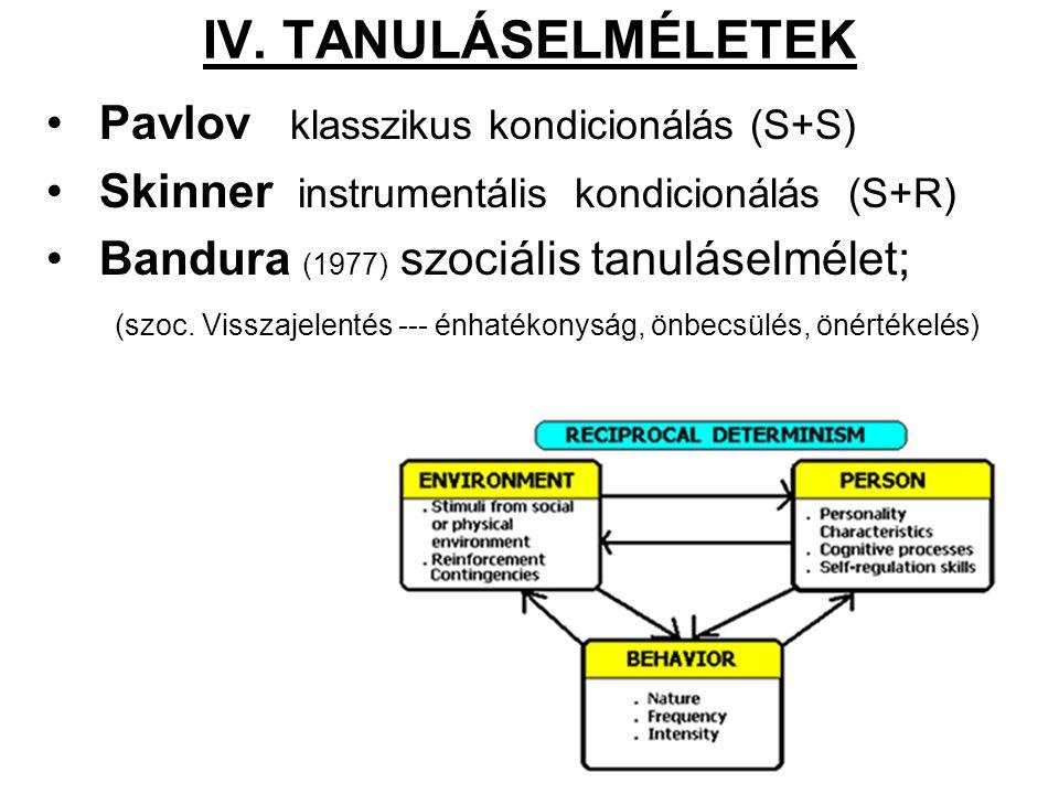 IV. TANULÁSELMÉLETEK Pavlov klasszikus kondicionálás (S+S) Skinner instrumentális kondicionálás (S+R) Bandura (1977) szociális tanuláselmélet; (szoc.