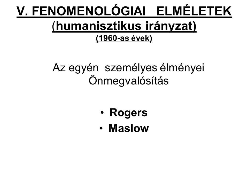 V. FENOMENOLÓGIAI ELMÉLETEK (humanisztikus irányzat) (1960-as évek) Az egyén személyes élményei Önmegvalósítás Rogers Maslow