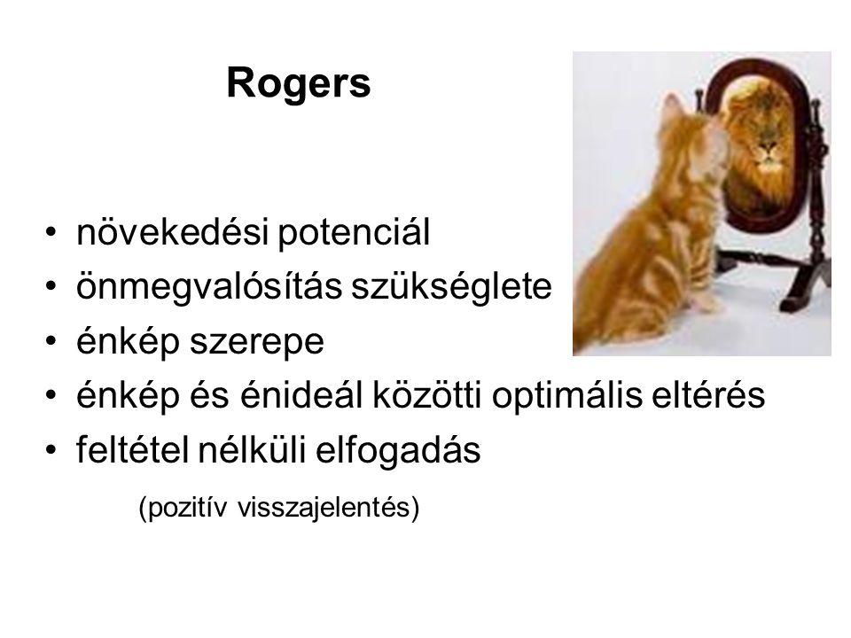 Rogers növekedési potenciál önmegvalósítás szükséglete énkép szerepe énkép és énideál közötti optimális eltérés feltétel nélküli elfogadás (pozitív visszajelentés)
