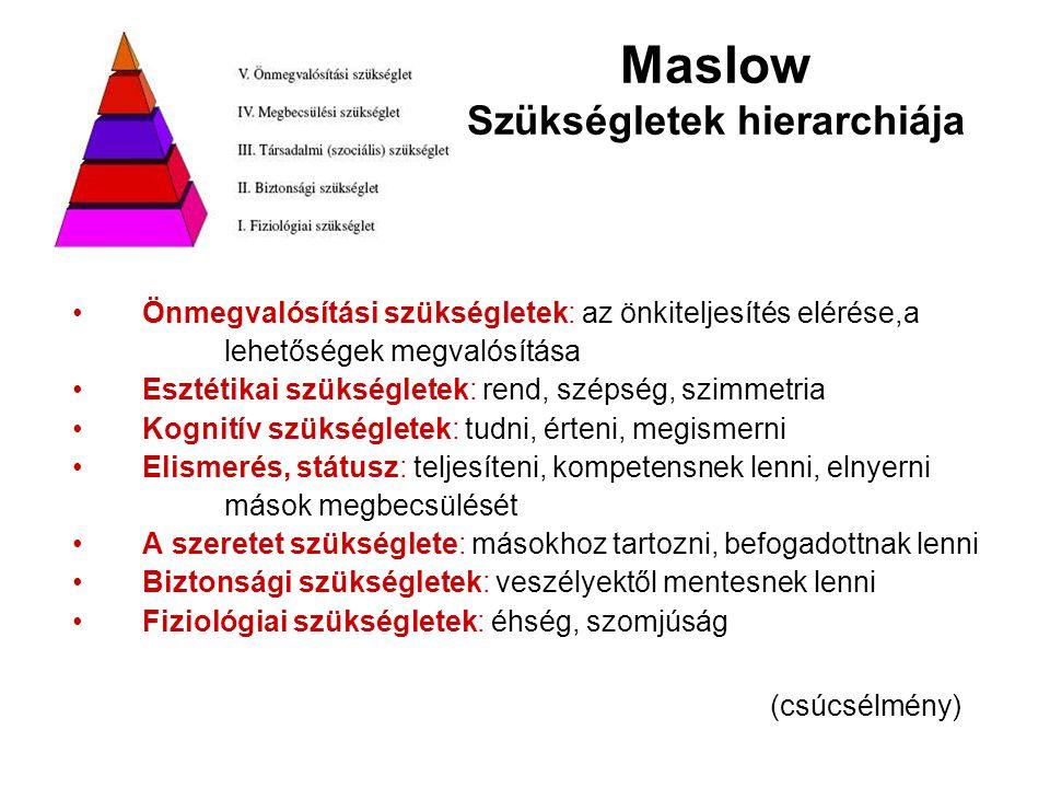 Maslow Szükségletek hierarchiája Önmegvalósítási szükségletek: az önkiteljesítés elérése,a lehetőségek megvalósítása Esztétikai szükségletek: rend, szépség, szimmetria Kognitív szükségletek: tudni, érteni, megismerni Elismerés, státusz: teljesíteni, kompetensnek lenni, elnyerni mások megbecsülését A szeretet szükséglete: másokhoz tartozni, befogadottnak lenni Biztonsági szükségletek: veszélyektől mentesnek lenni Fiziológiai szükségletek: éhség, szomjúság (csúcsélmény)