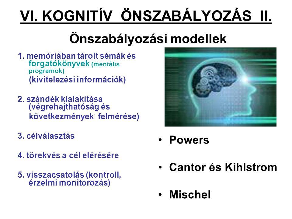 VI.KOGNITÍV ÖNSZABÁLYOZÁS II. Önszabályozási modellek 1.