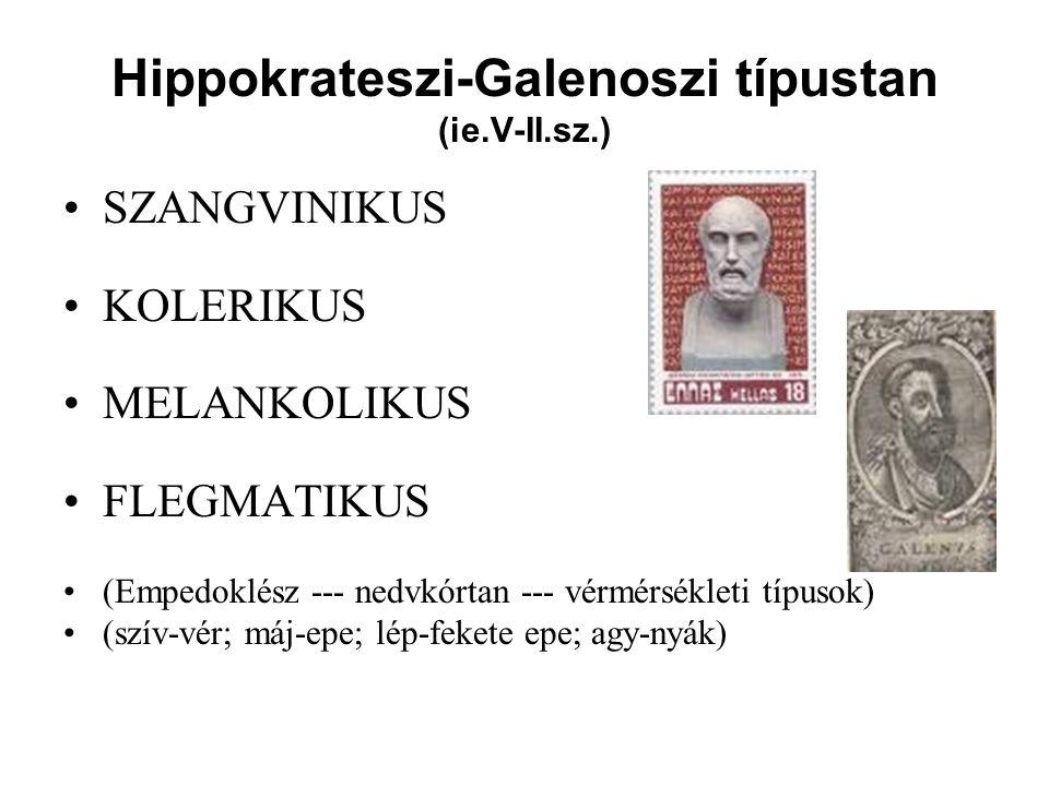 Hippokrateszi-Galenoszi típustan (ie.V-II.sz.) SZANGVINIKUS KOLERIKUS MELANKOLIKUS FLEGMATIKUS (Empedoklész --- nedvkórtan --- vérmérsékleti típusok) (szív-vér; máj-epe; lép-fekete epe; agy-nyák)