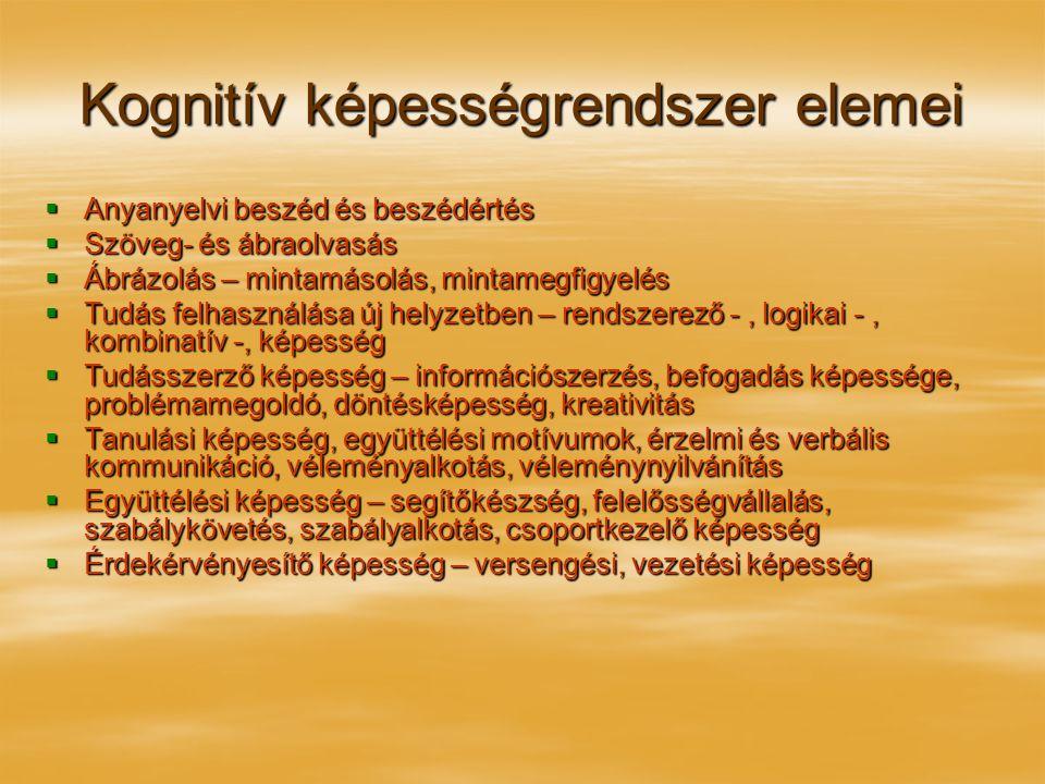 Kognitív képességrendszer elemei  Anyanyelvi beszéd és beszédértés  Szöveg- és ábraolvasás  Ábrázolás – mintamásolás, mintamegfigyelés  Tudás felh