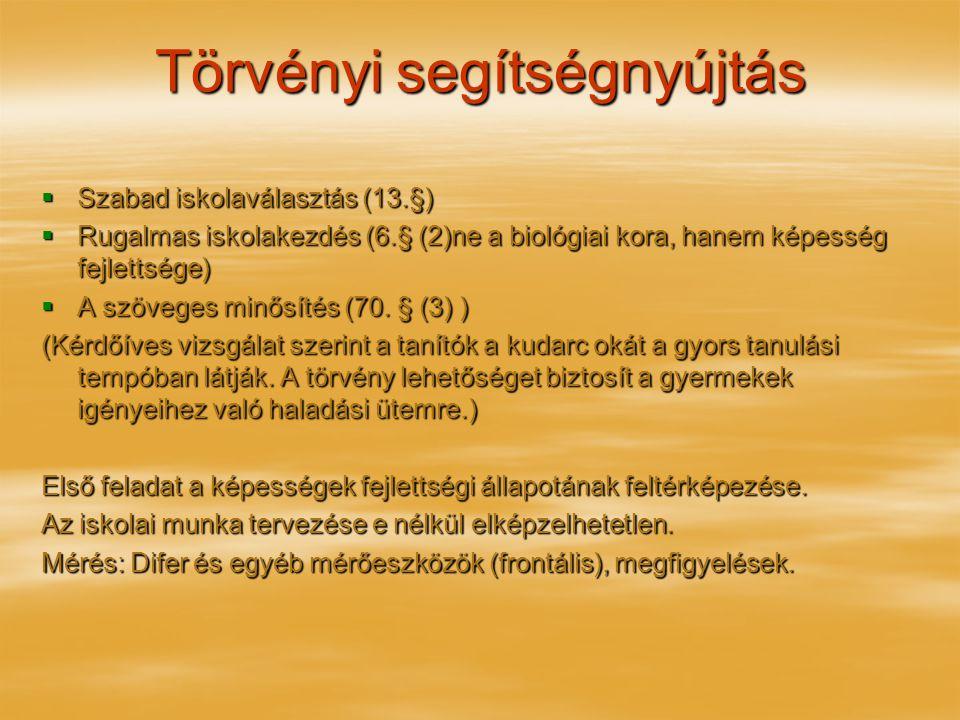 Törvényi segítségnyújtás  Szabad iskolaválasztás (13.§)  Rugalmas iskolakezdés (6.§ (2)ne a biológiai kora, hanem képesség fejlettsége)  A szöveges