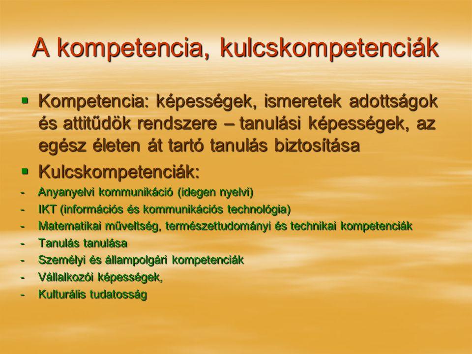 A kompetencia, kulcskompetenciák  Kompetencia: képességek, ismeretek adottságok és attitűdök rendszere – tanulási képességek, az egész életen át tartó tanulás biztosítása  Kulcskompetenciák: -Anyanyelvi kommunikáció (idegen nyelvi) -IKT (információs és kommunikációs technológia) -Matematikai műveltség, természettudományi és technikai kompetenciák -Tanulás tanulása -Személyi és állampolgári kompetenciák -Vállalkozói képességek, -Kulturális tudatosság
