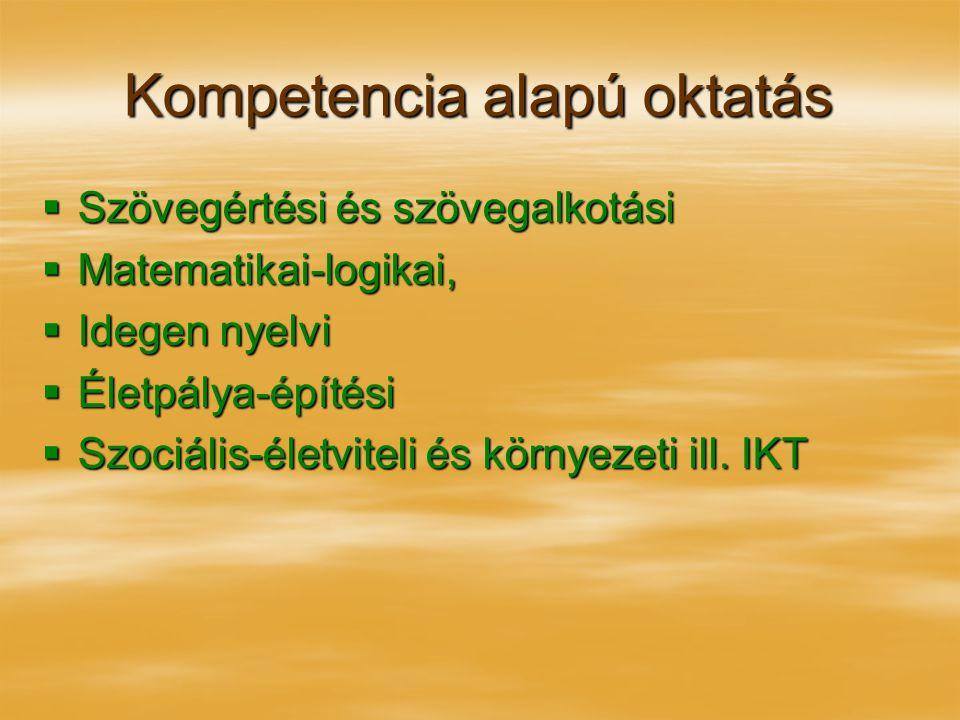 Kompetencia alapú oktatás  Szövegértési és szövegalkotási  Matematikai-logikai,  Idegen nyelvi  Életpálya-építési  Szociális-életviteli és környe