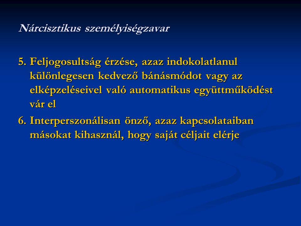 5.Feljogosultság érzése, azaz indokolatlanul különlegesen kedvező bánásmódot vagy az elképzeléseivel való automatikus együttműködést vár el 6.Interpe